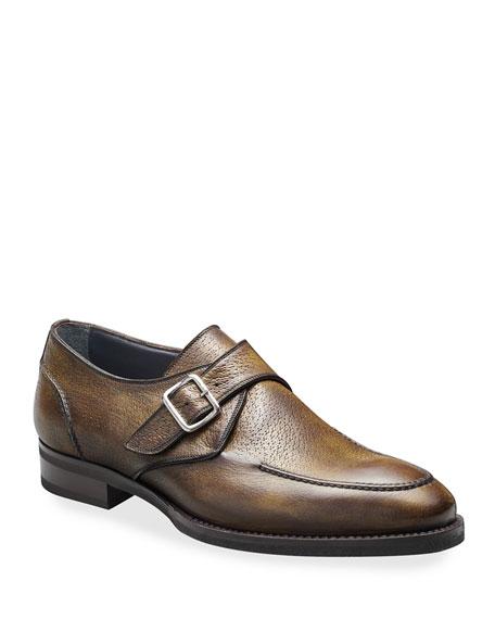 di Bianco Men's Pecari Zenzero Single-Monk Leather Shoes