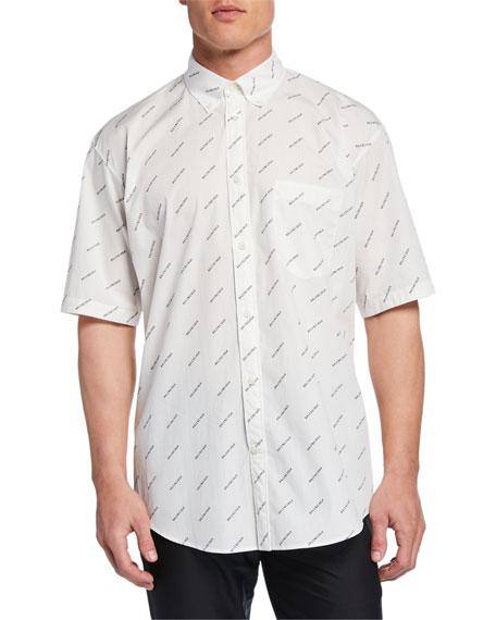 Balenciaga Men's Diagonal Logo Short-Sleeve Sport Shirt