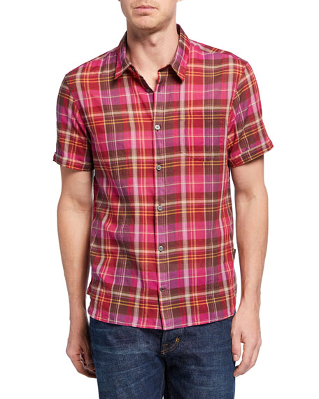 John Varvatos Star USA Men's Clyde Short-Sleeve Plaid Sport Shirt