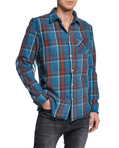 R13 Men's Plaid Sport Shirt w/ Shredded Seams