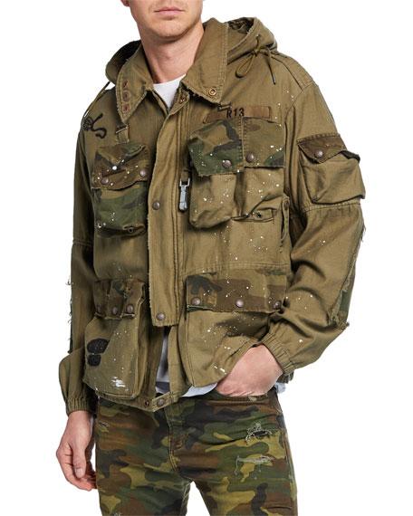 R13 Men's Multi-Pocket Camouflage-Trim Jacket