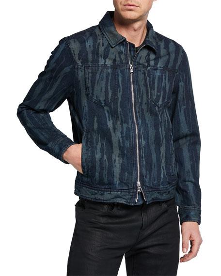 John Varvatos Star USA Men's Lucas Zip-Front Denim Trucker Jacket
