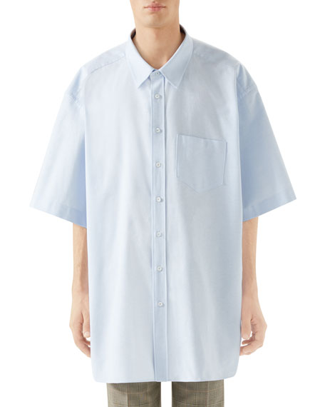 Gucci Men's Oversized Short-Sleeve Oxford Shirt