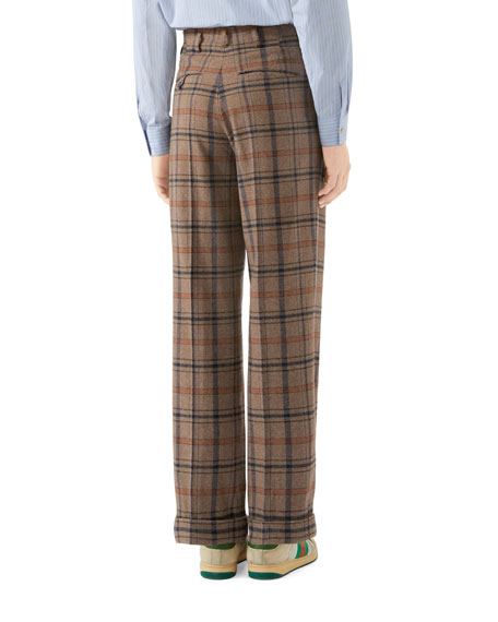 Gucci Men's Plaid Wool Pleated Pants