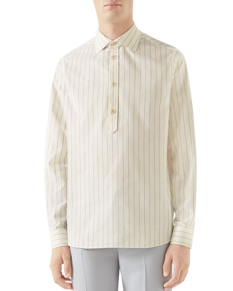 Gucci Men's Striped Quarter-Button Sport Shirt