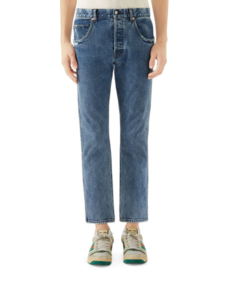 Gucci Men's Distressed Cropped Denim Jeans