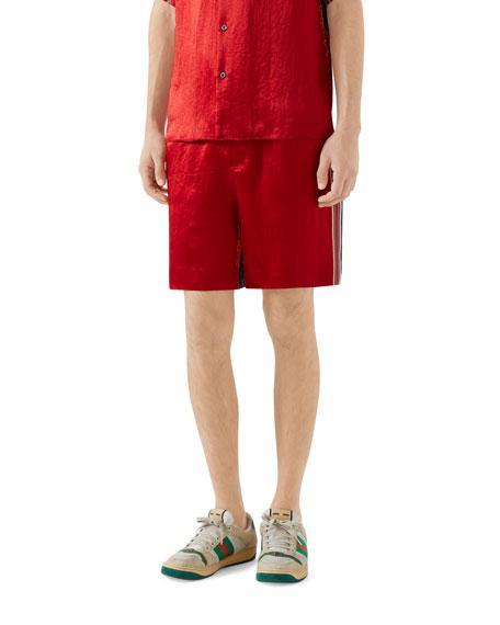 Gucci Men's Silk-Front Chain Striped Shorts