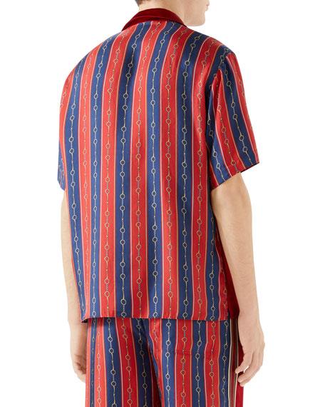 Gucci Men's Silk-Front Chain Striped Short-Sleeve Shirt
