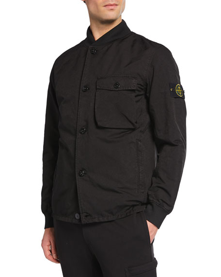 Stone Island Men's Twill Button-Front Jacket