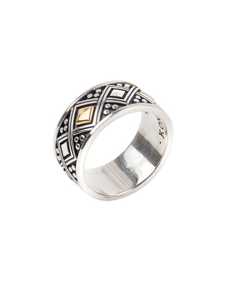 Konstantino Men's Sterling Silver Ring w/ 18k Gold Trim