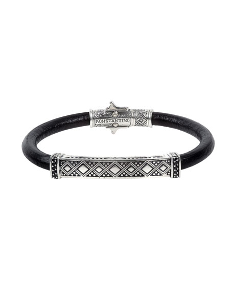 Konstantino Men's Spinel-Inlay Leather Bracelet