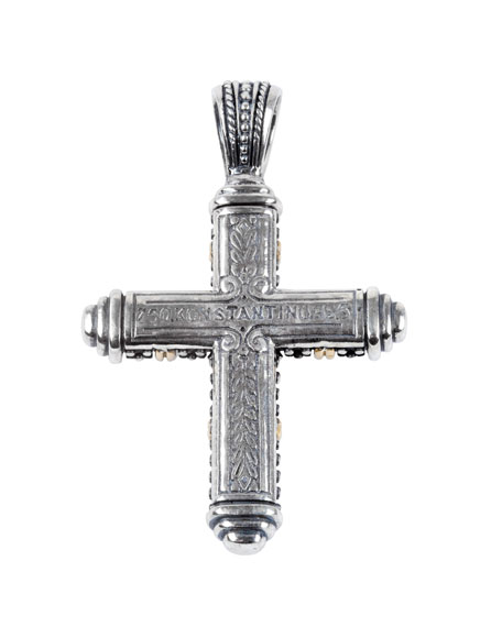 Image 2 of 2: Konstantino Men's Sterling Silver/18k Gold Cross Pendant