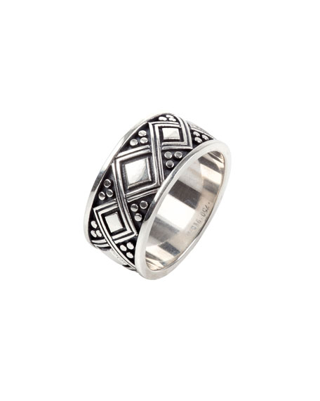 Konstantino Men's Diamond-Carved Sterling Silver Band Ring