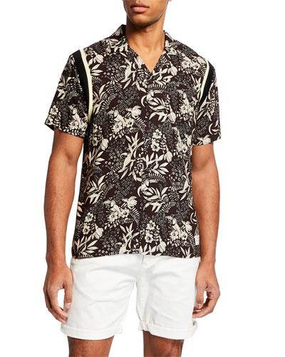 Men's Botanical-Print Hawaiian Shirt