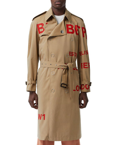 Men's Logo Typographic Trench Coat