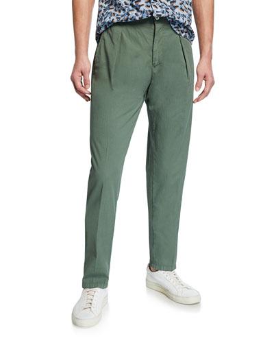 Men's Solid Seersucker Pants  Green