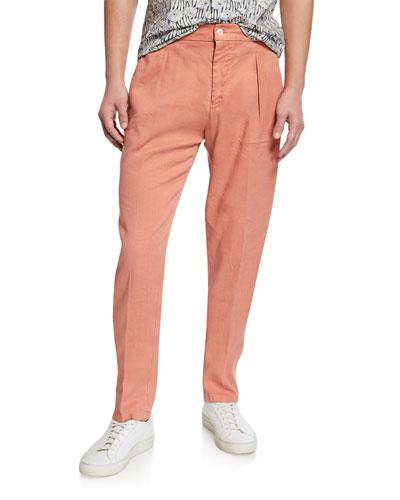 Men's Linen-Cotton Pleated Pants  Orange