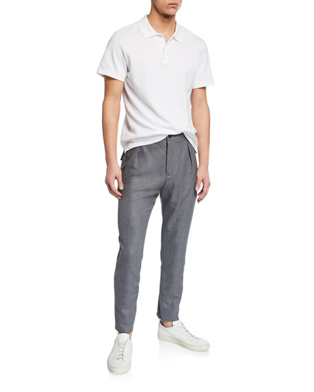 Marco Pescarolo Men's Heathered Wool Pleated Pants, Gray