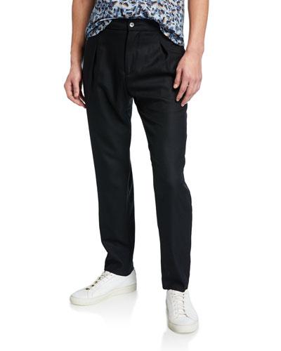 Men's Wool Pleated Pants  Black