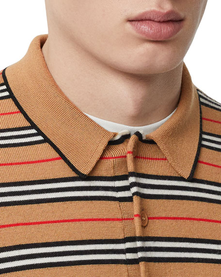 Burberry Men's Beaford Striped Wool Polo Shirt