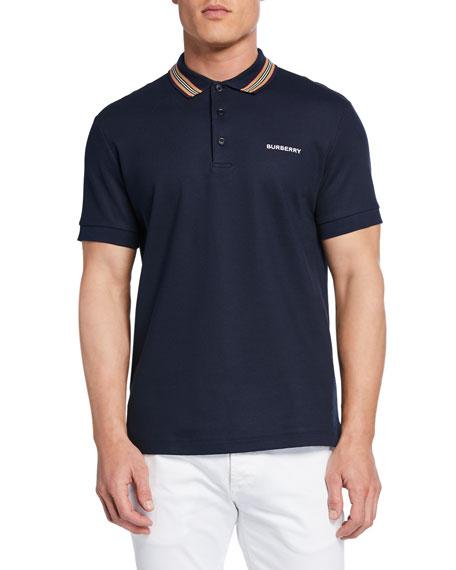 Burberry Men's Johnston Signature-Trim Polo Shirt