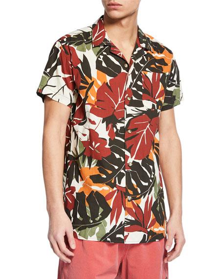 Deus Men's Dean Elchulo Leaf-Pattern Short-Sleeve Sport Shirt