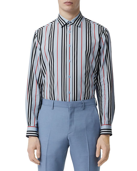 Burberry Men's Striped Sport Shirt