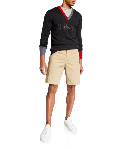 Burberry Men's Straight-Leg Side-Stripe Chino Shorts