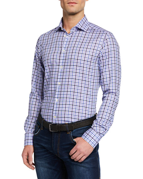 Neiman Marcus Men's Large-Check Sport Shirt, Light Blue