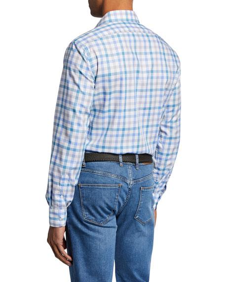 Neiman Marcus Men's Small-Check Sport Shirt, Aqua