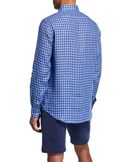 Neiman Marcus Men's Linen Medium Check Sport Shirt