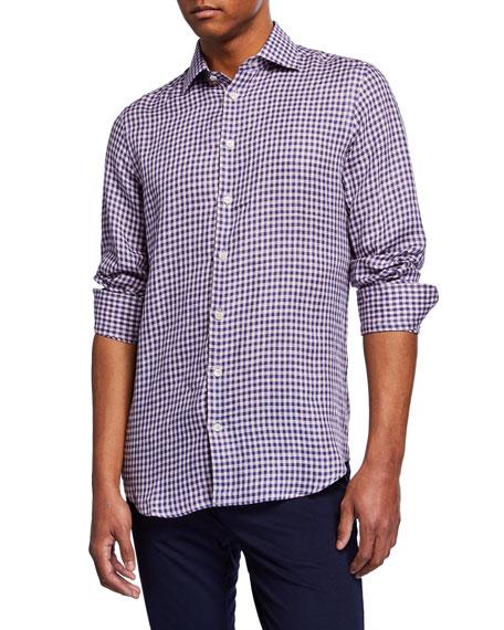 Neiman Marcus Men's Checked Linen Sport Shirt