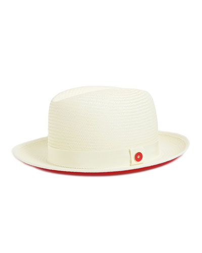 Men's Straw Hat with Red Suede Brim  White