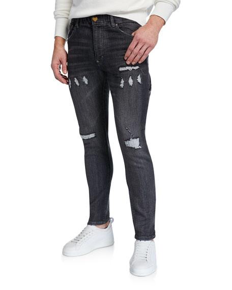 HUMAN MADE Men's HBZ Distressed-Denim Skinny Jeans