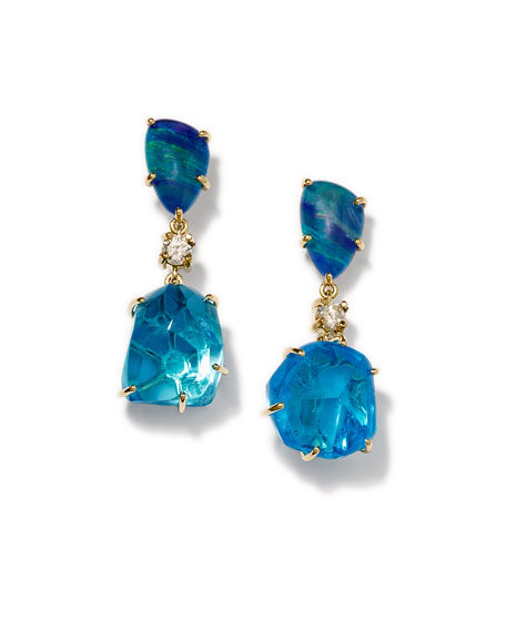 Jan Leslie 18K Bespoke Tribal Luxury 2-Tier Earring with Opal Triplet, Blue Topaz, and Diamond