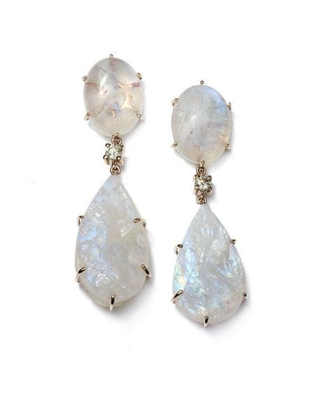 Jan Leslie 18k Bespoke 2-Tier Tribal Luxury Earring with Moonstone Cabochon, Raw Moonstone, and Diamond