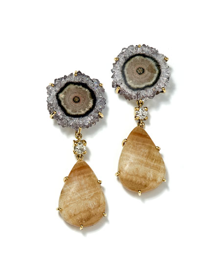 Jan Leslie 18k Bespoke Tribal Luxury 2-Tier Earring with Jasper Stalactite, Yellow Lace Agate and Diamond