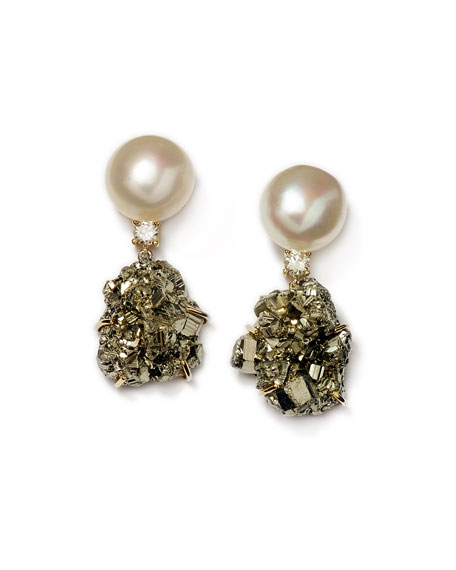 Jan Leslie 18k Bespoke Tribal Luxury 2-Tier Earring with Pearl, Pyrite, and Diamond