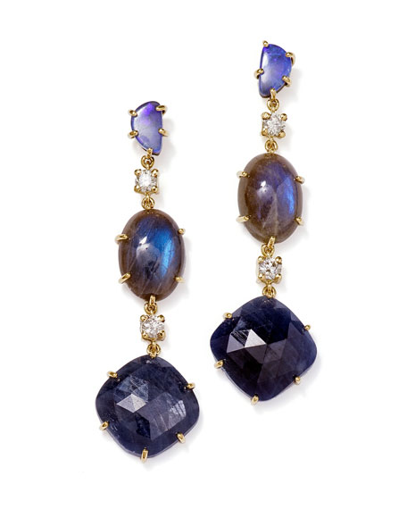 Jan Leslie 18k Bespoke Tribal Luxury 3-Tier Earring with Boulder Opal, Labradorite, Sapphire, and Diamond