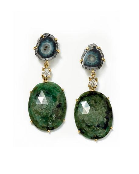 Jan Leslie 18k Bespoke 2-Tier Tribal Luxury Earring with Jasper Stalactite, Faceted Emerald, and Diamond