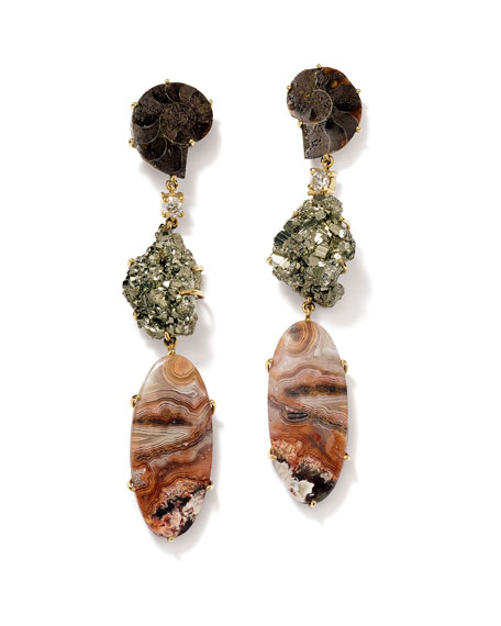 Jan Leslie 18K Bespoke Tribal Luxury 3-Tier Earring with Ammonite, Pyrite, Crazy Lace Agate, and Diamond