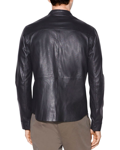 John Varvatos Star USA Men's Wyatt Leather Snap-Front Shirt Jacket