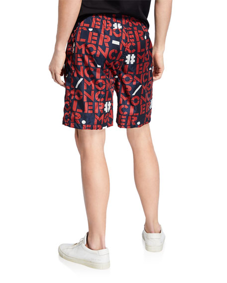 Moncler Genius Men's Logo-Print Nylon Shorts