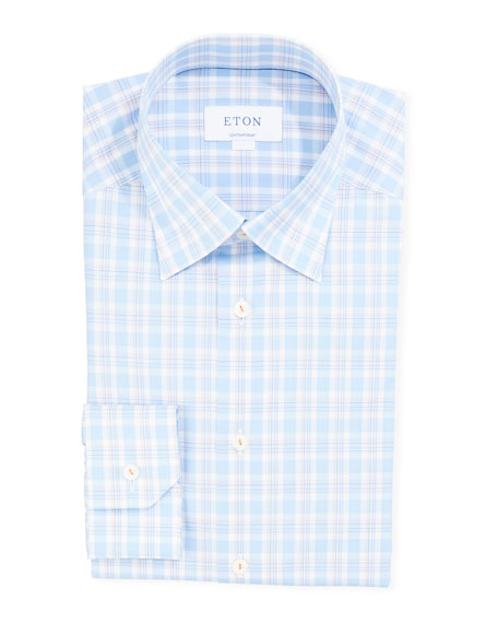 Eton Men's Contemporary-Fit Two-Tone Check Dress Shirt
