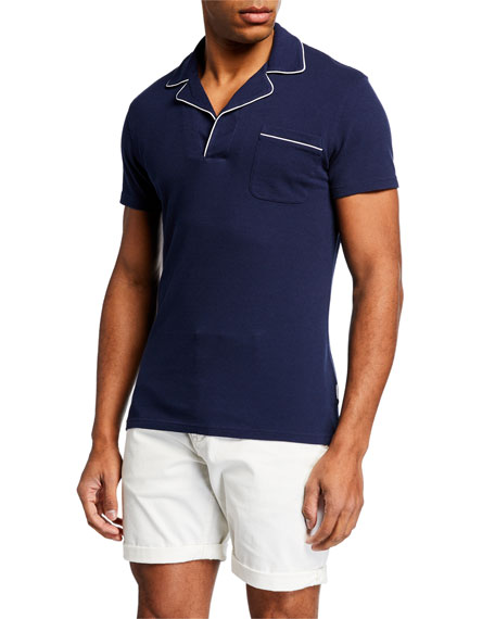 Orlebar Brown Men's Donald Polo Shirt w/ Contrast Piping