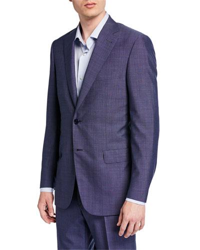 Men's Tic-Pattern Wool Two-Piece Suit