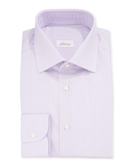 Brioni Dresses MEN'S NARROW-STRIPE COTTON/SILK DRESS SHIRT
