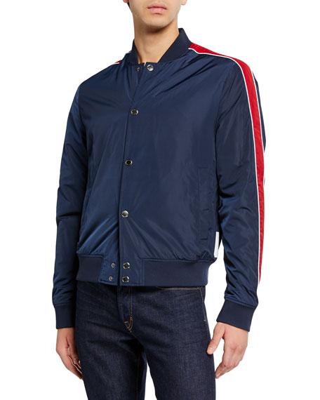 Michael Kors Men's Striped-Sleeve Bomber Jacket