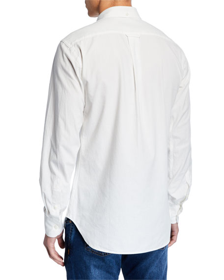 Hand Picked Men's Soft Cotton Sport Shirt, White