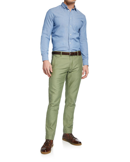 Hand Picked Men's Round-Pockets Tapered-Leg Chino Pants, Light Green